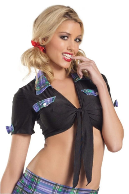 Tie Front with Checkered Design Top - Black & Purple
