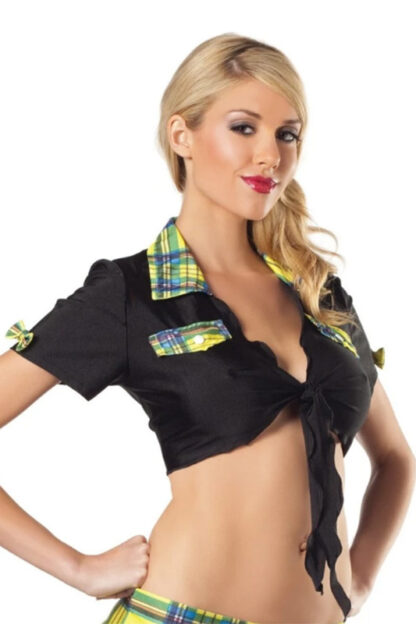 Tie Front with Checkered Design Top - Black & Yellow