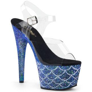 """Pleaser 7"""" Adore 708MSLG Sandal - Mermaid Multi Glitter Blue"""