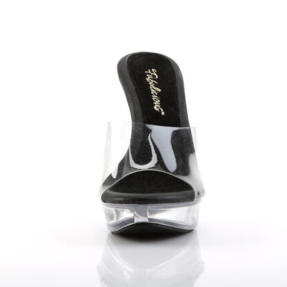 """Fabulicious 5"""" Cocktail 501 Slip On Black Foot Clear Platform Shoes Front Angle"""