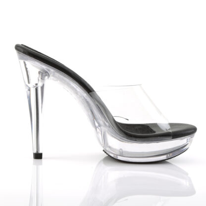 """Fabulicious 5"""" Cocktail 501 Slip On Black Foot Clear Platform Shoes Right Angle"""