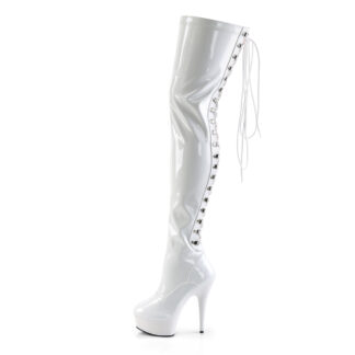 "Pleaser 6"" Delight 3063 Thigh High Boot Patent White Left Angle"