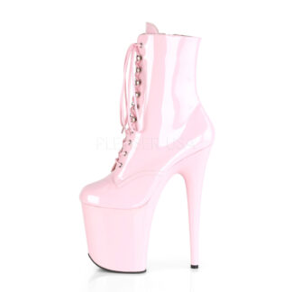 "Pleaser 8"" Flamingo 1020 Ankle Boots Patent Baby Pink Left Angle"