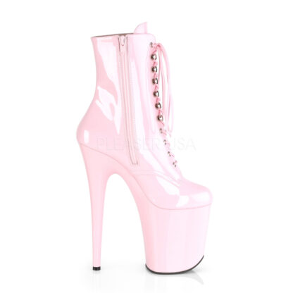 "Pleaser 8"" Flamingo 1020 Ankle Boots Patent Baby Pink Right Angle"