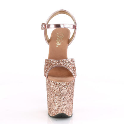 """Pleaser 8"""" Flamingo 810 Open Toe with Ankle Strap Glitter Rose Gold Shoes Front Angle"""