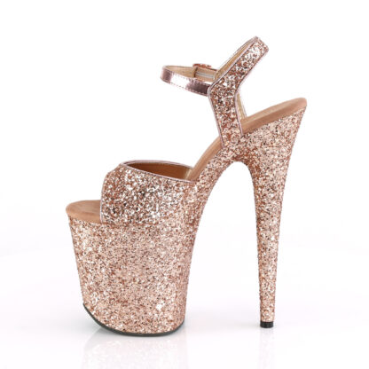 """Pleaser 8"""" Flamingo 810 Open Toe with Ankle Strap Glitter Rose Gold Shoes Left Angle"""