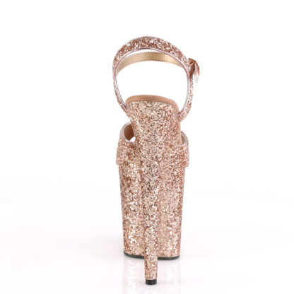 """Pleaser 8"""" Flamingo 810 Open Toe with Ankle Strap Glitter Rose Gold Shoes Back Angle"""