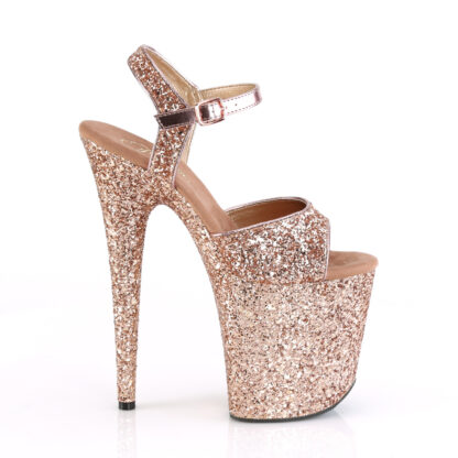 """Pleaser 8"""" Flamingo 810 Open Toe with Ankle Strap Glitter Rose Gold Shoes Right Angle"""