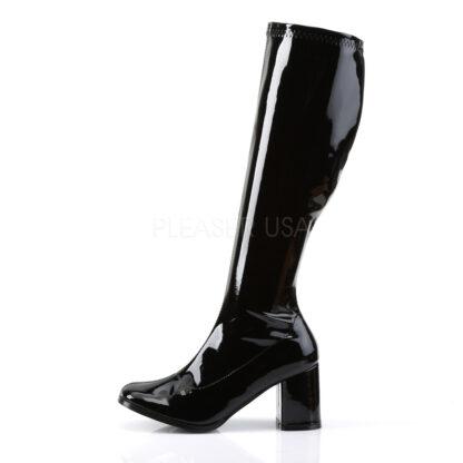 Funtasma 3″ Gogo Knee High Boots Patent Black Left Angle