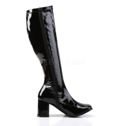 Funtasma 3″ Gogo Knee High Boots Patent Black Right Angle