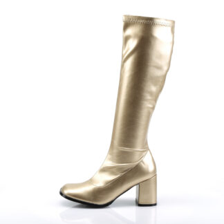 Funtasma 3″ Gogo Knee High Boots Gold Left Angle