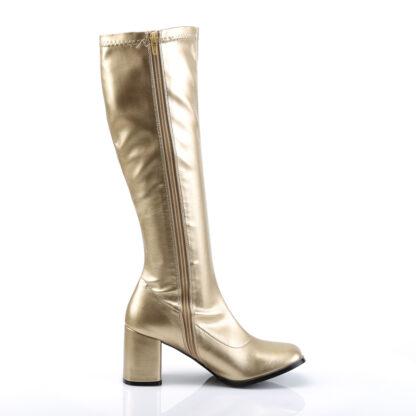 Funtasma 3″ Gogo Knee High Boots Gold Right Angle