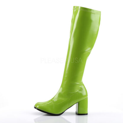 Funtasma 3″ Gogo Knee High Boots Patent Lime Left Angle