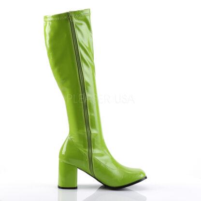 Funtasma 3″ Gogo Knee High Boots Patent Lime Right Angle