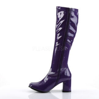 Funtasma 3″ Gogo Knee High Boots Patent Purple Left Angle