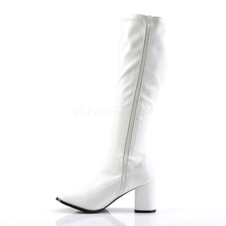 Funtasma 3″ Gogo Knee High Boots Patent White Left Angle