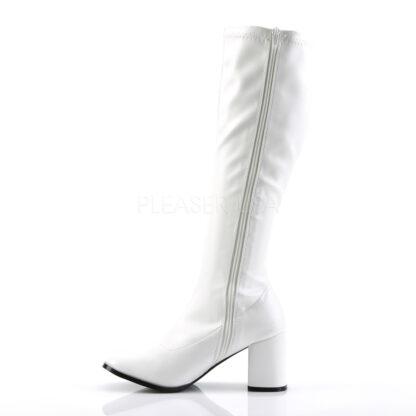 Funtasma 3″ Gogo Knee High Boots Patent White Left Angle