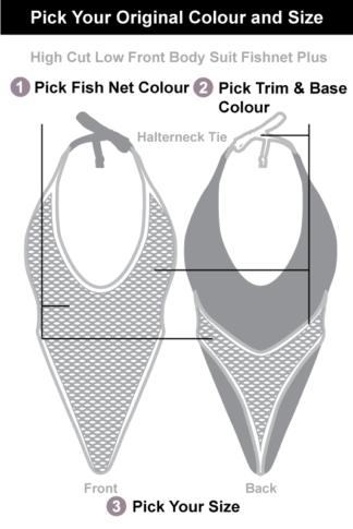 Siren Doll High Cut low Front Bodysuit - Fishnet + Pick Your Original Colour