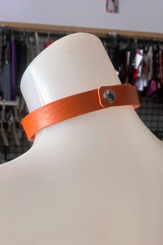 Love Heart Choker - Faux Leather- Orange Back