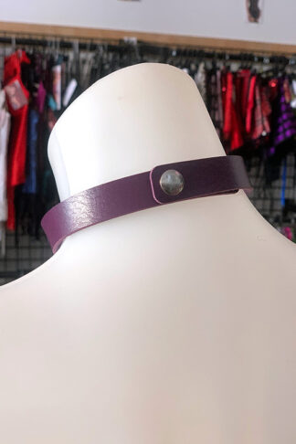 Love Heart Choker - Faux Leather- Purple Back