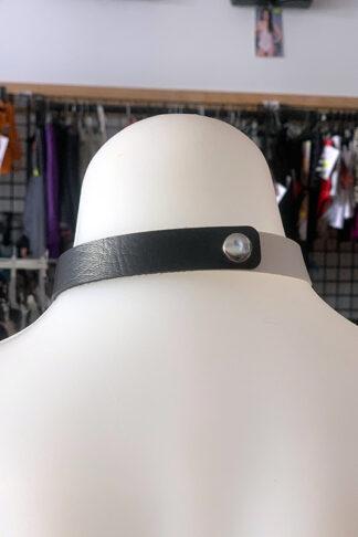 Love Heart Choker - Faux Leather- Black & White Back
