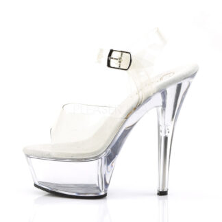"Pleaser 6"" Kiss 208 Clear Top with Ankle Strap Shoes Left Angle"