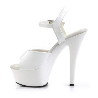 "Pleaser 6"" Kiss 209 Sandal Patent White Left Angle"