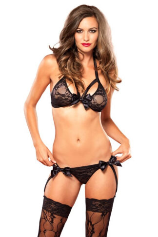 2 Piece Strappy Lingerie Set - Black