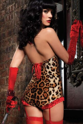 Leopard Bodysuit Red Trim Back