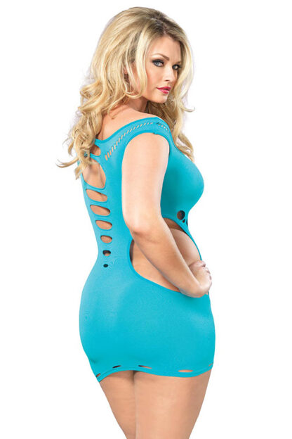 Seamless Cut Out Mini Dress - Queen Size Turquoise Back