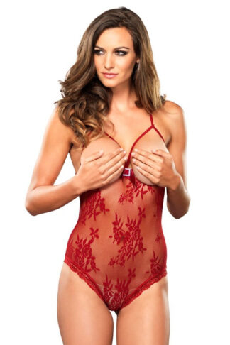 Stretch Lace Open Teddy - Red