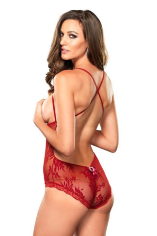 Stretch Lace Open Teddy - Red Back