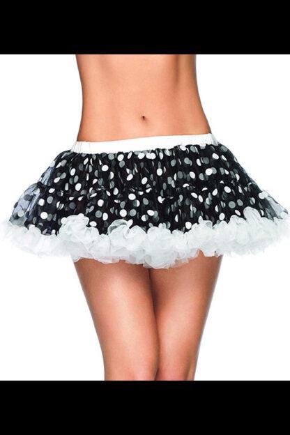 Chiffon Mini Petticoat Black with white spots front2