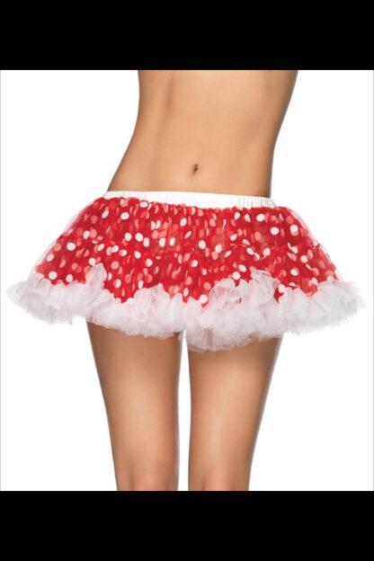 Chiffon Mini Petticoat Red with white spots front2