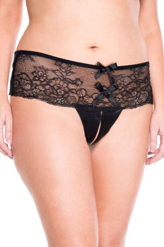 Lace Back Bow Crotchless Panty - Queen Sizes