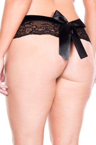 Lace Back Bow Crotchless Panty - Queen Sizes Back