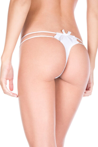 O-ring with back bow panty - White back
