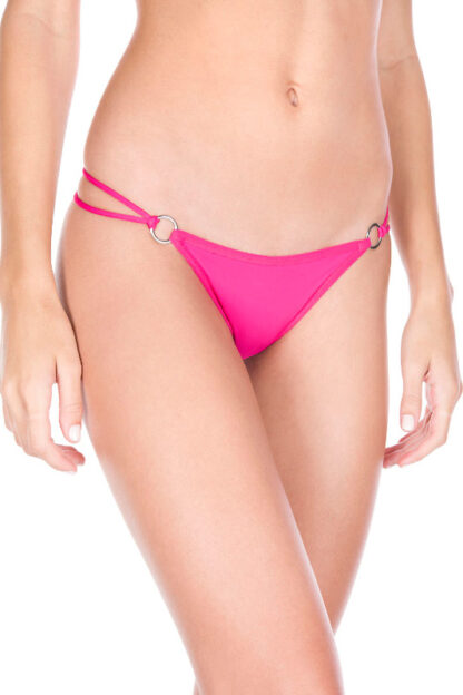 O-ring with back bow panty - Pink Front