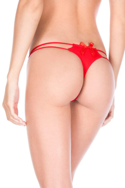 O-ring with back bow panty - Red Back