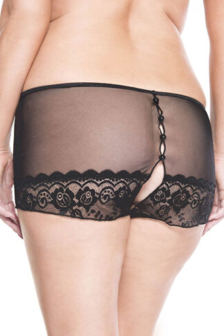 Back Button Crotchless Lace Panty - Queen Sizes Back