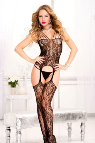 Strappy Shoulder Lace Suspender Bodystocking - Black ML#1013