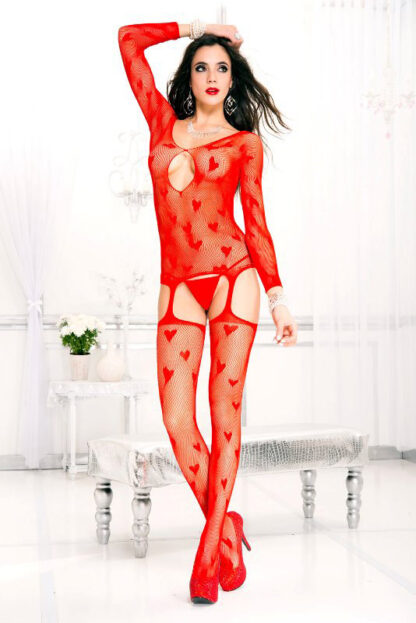Heart and Fishnet Suspender Bodystocking - Red ML#1017