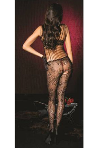 Spandex Shredded Strap Floral Lace crotchless bodystocking - Black ML#1019 back