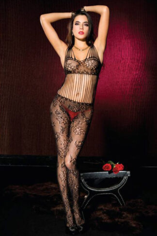Spandex Shredded Strap Floral Lace crotchless bodystocking - Black ML#1019 Front