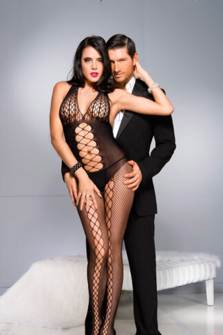 Honeycomb Bust Bodystocking with Front Panel Details - Black ML#1030 Front