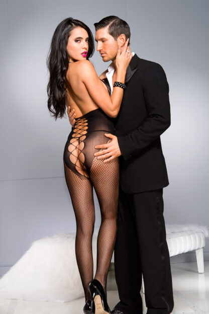 Honeycomb Bust Bodystocking with Front Panel Details - Black ML#1030 Back