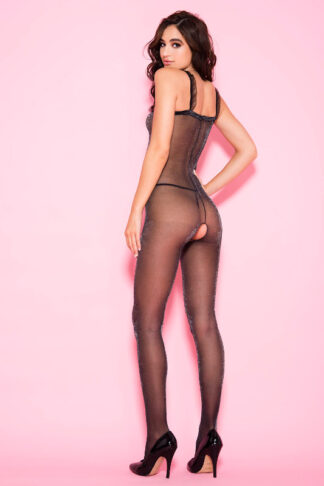 Shimmery Sheer Sleeves Crotchless Bodystocking - Black ML#1074 Back