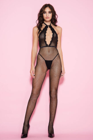 Tying Back Fishnet Crotchless Bodystocking with Front Keyhole - Black