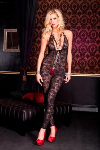 Romantic Floral Lace Footless Deep V Crotchless Bodystocking - Black ML#1098 Front