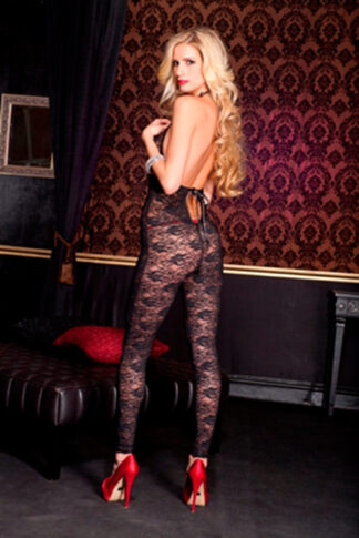 Romantic Floral Lace Footless Deep V Crotchless Bodystocking - Black ML#1098 Back